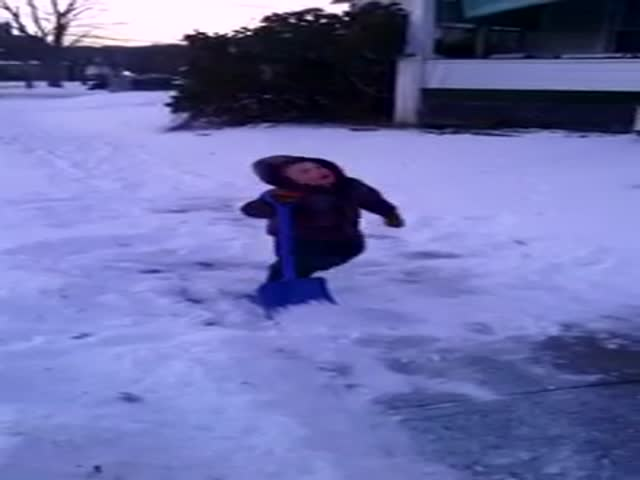 4-Year-Old Boy Has Had Enough of Shoveling Snow!  (VIDEO)
