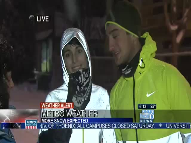 Snow Jogger Gets a Dose of Instant Karma on Live TV