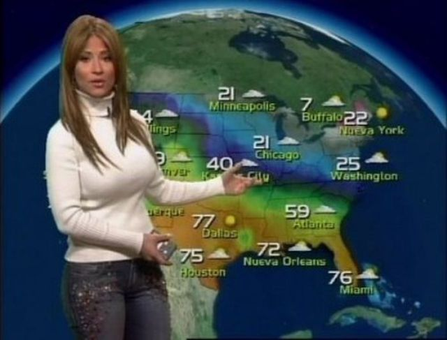 The Beautiful Busty Brunette Who Presents the Weather