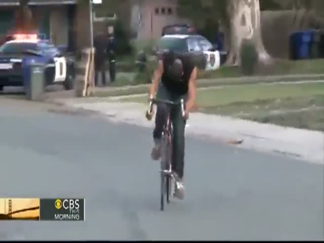 Suspect Tries to Flee from the Police on Bicycle...