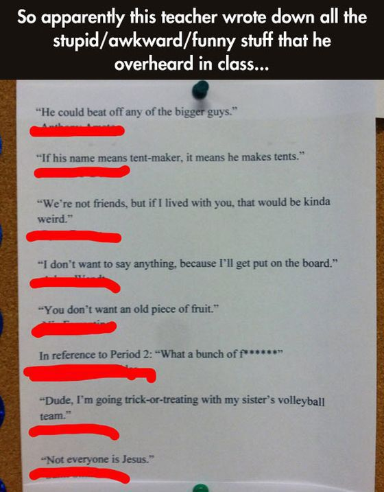 "Teacher's Brilliant Funny ""Wall of Fame"""