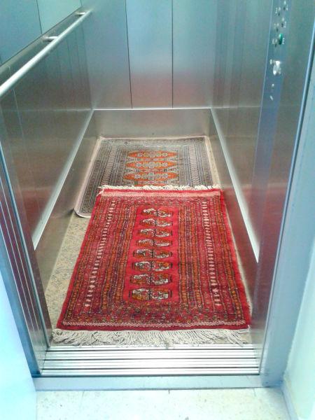 Oriental Rugs in Elevator!