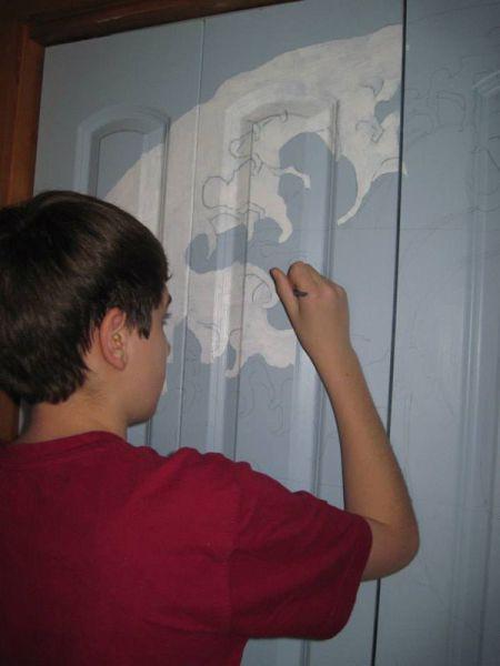 Closet Doors Transformed into a Fun Work of Art