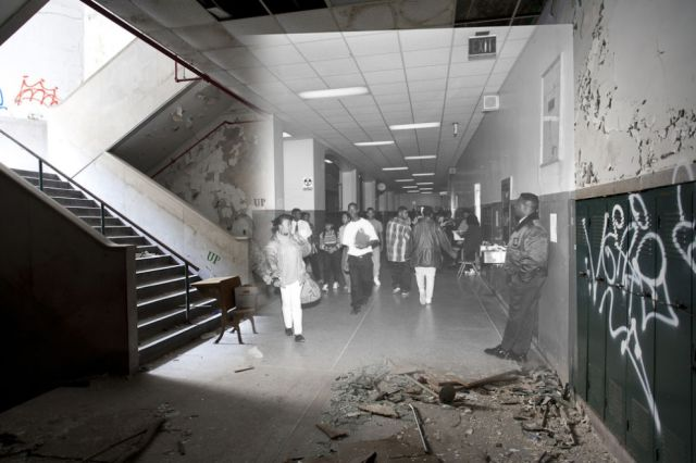 Detroit High School Before and After Fire Damage