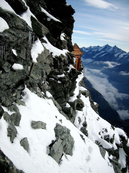 A Swiss  Mountain Hut on the Edge of the Matterhorn