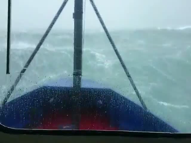 Going through a Storm with 50ft Waves  (VIDEO)