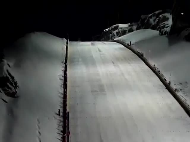 The World's Longest Ski Jump as Seen from the Bottom  (VIDEO)