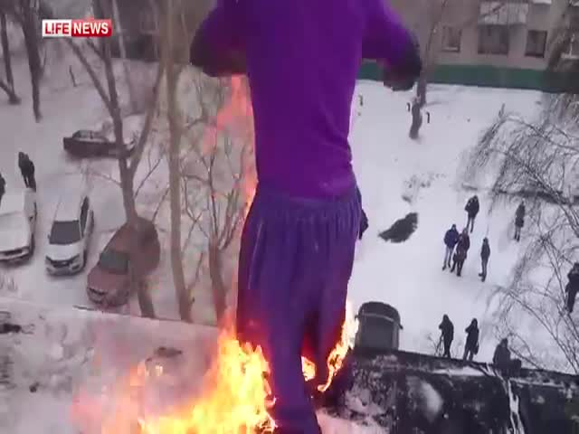 Russian Guy Sets Himself on Fire and Jumps Off a 5 Story Building  (2 videos)