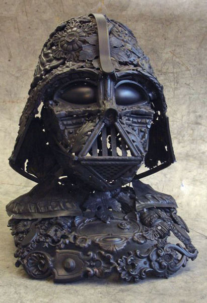 A Metal Darth Vader Helmet Welded from Spoons and Furniture