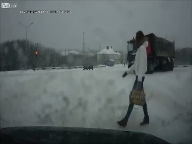 Meanwhile, in Russia: Truck Driver Disturbed by Pedestrian's Beauty