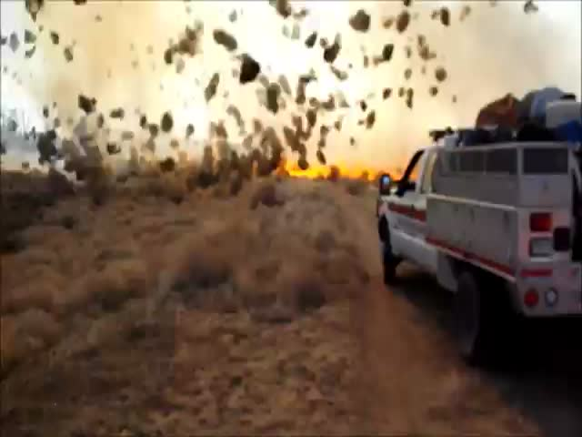 Spectacular Tornado of Tumbleweeds in Fire