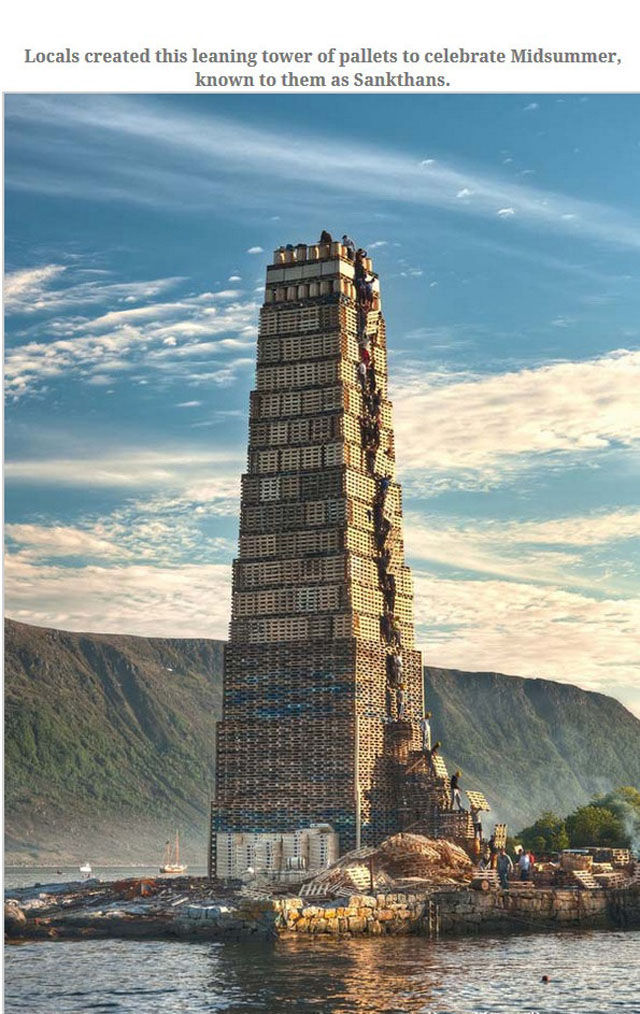 A Gigantic Pallet Tower That Has a Very Unique Purpose