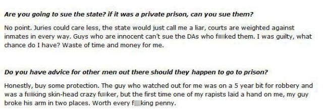 One Prison Rape Victim's Hard-Hitting Interview Responses