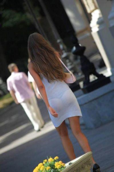 Upskirt voyeur transparent thong - 5 1