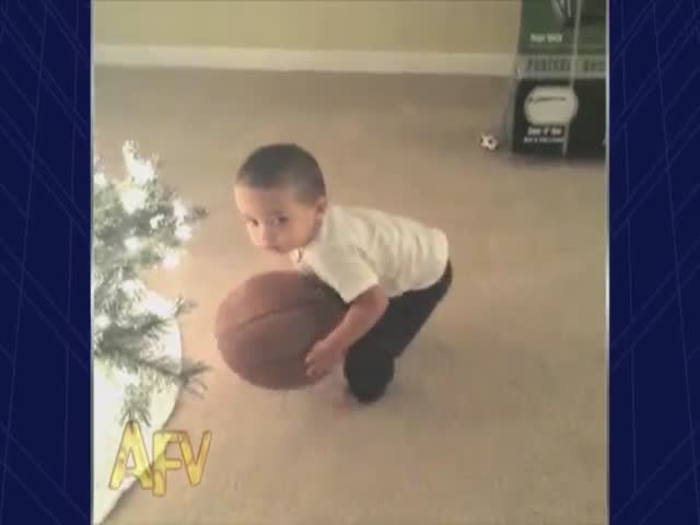Confused Toddler Tries to Score a Basketball...