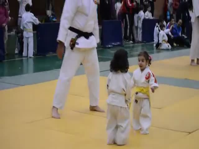 Adorable Little Girls' First Judo Match