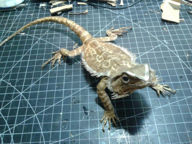 Lifelike Bearded Dragon Made out of Cardboard
