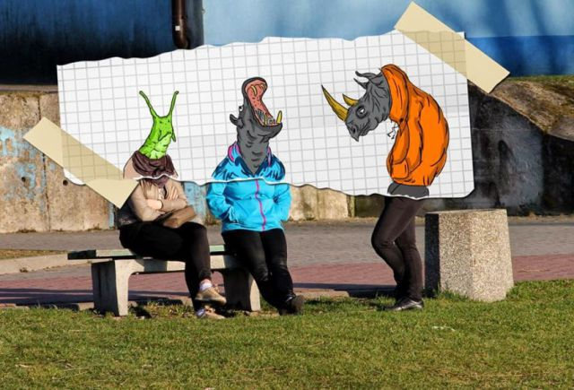 Cartoon Drawings Give Boring Photos a Comedic Makeover