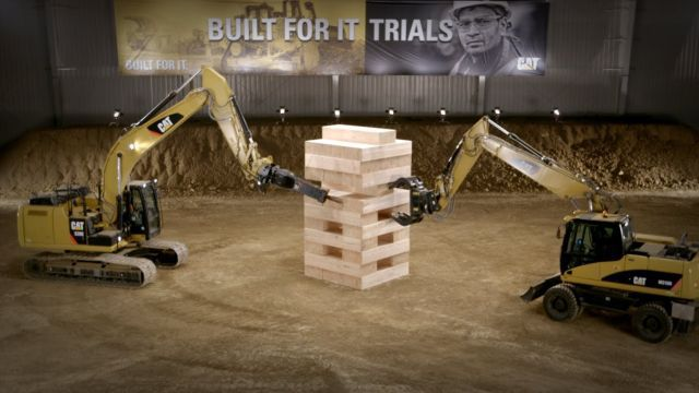 Epic Giant Game of Jenga with Heavy CAT Machines