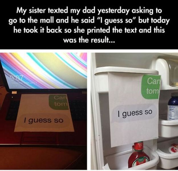 Daughter Gets Her Own Back on Dad