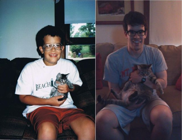 A Comparison of Owner and Pet Photos from Past and Present