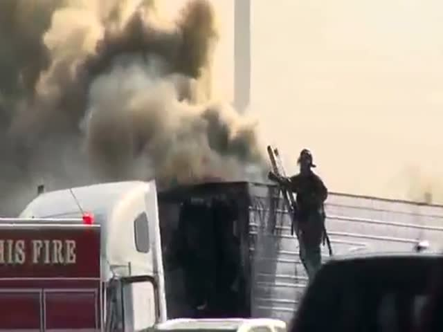 Fireman Performs a Weird Ladder Routine During Truck Fire  (VIDEO)