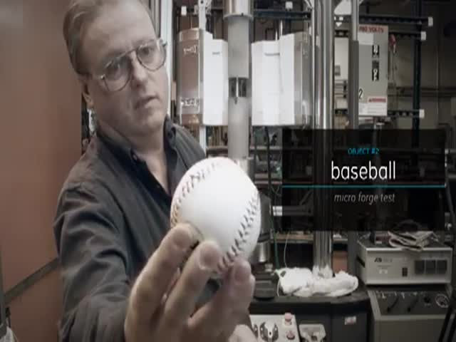 What Happens to a Baseball When You Apply 100,000 lbs of Force  (VIDEO)