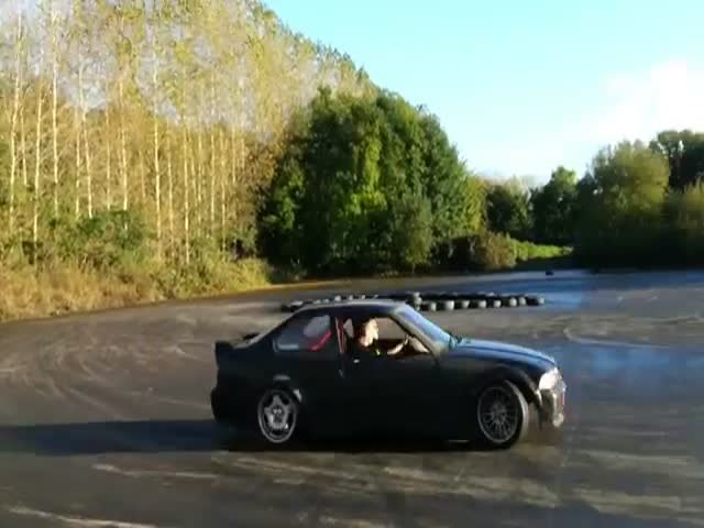 Idiot Gets Too Close to His Drifting Friend