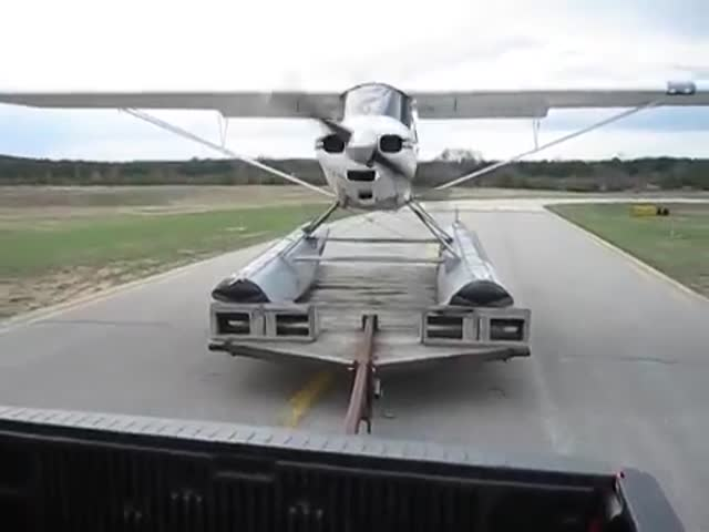 Seaplane Takes Off from Truck Trailer