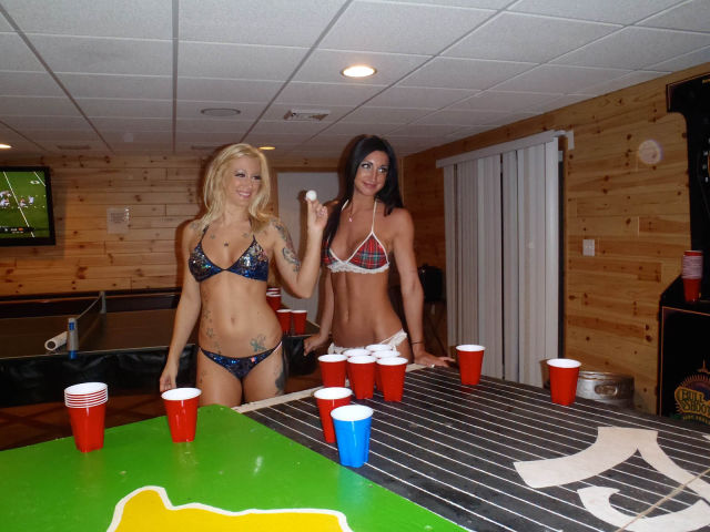 Girls Let Their Boobs Hang Out During Beer Pong