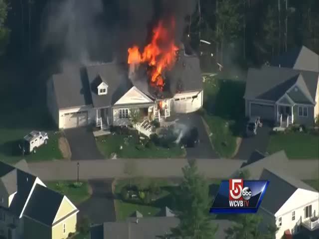 Burning House Explodes on Live TV
