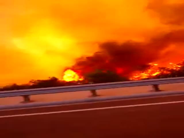 Driving through the Flames of the San Diego Fire