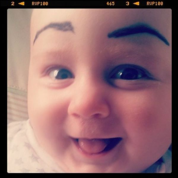 Babies with painted eyebrows is trending online 39 pics izismile 19 babies with painted eyebrows is trending online voltagebd Image collections