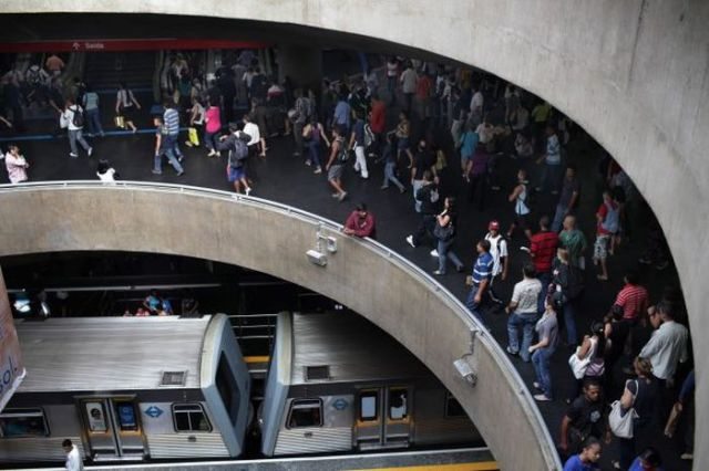 People are Packed Like Sardines in Sao Paulo's Subway