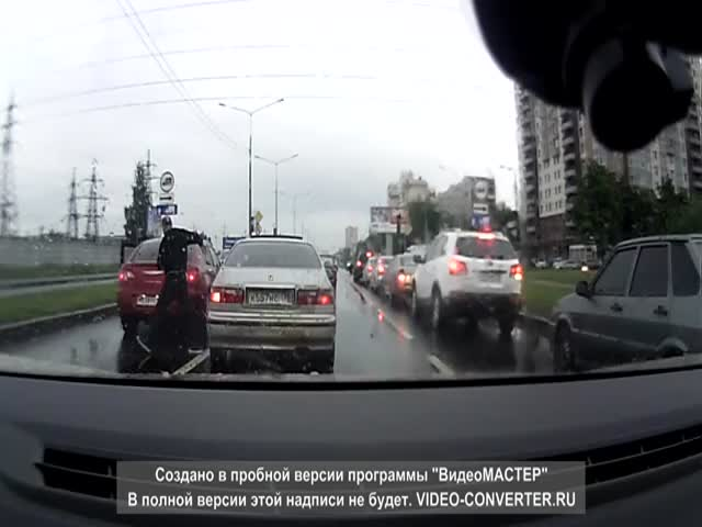 Russian Road Rage of the Day: He Wanted a Fight, He Got One!