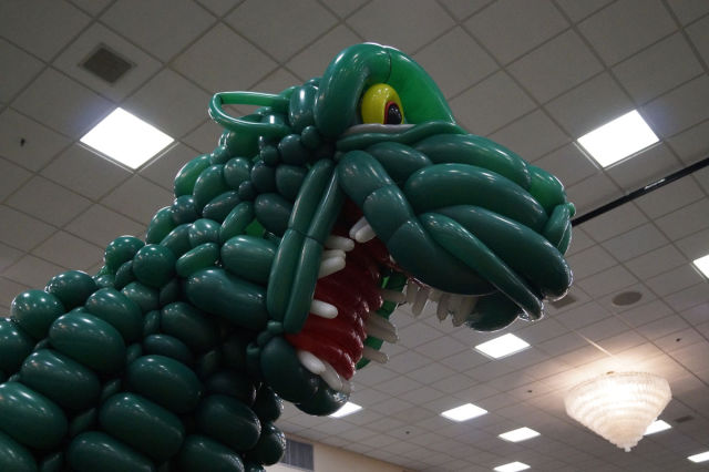 A 2500 Balloon Replica of Godzilla