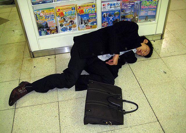Japanese Businessmen Passed Drunk in Public