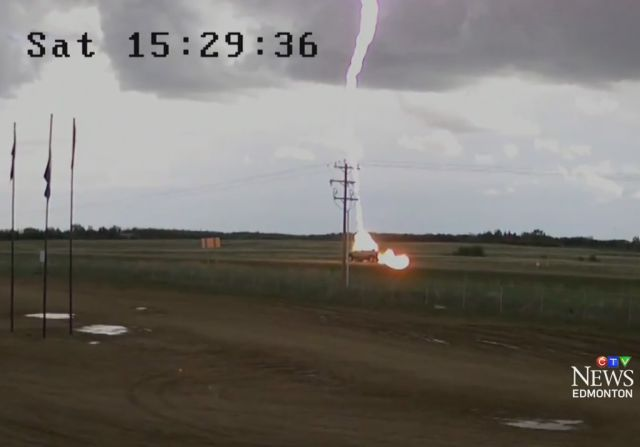 Lightning Bolt Strikes a Pickup Truck While It