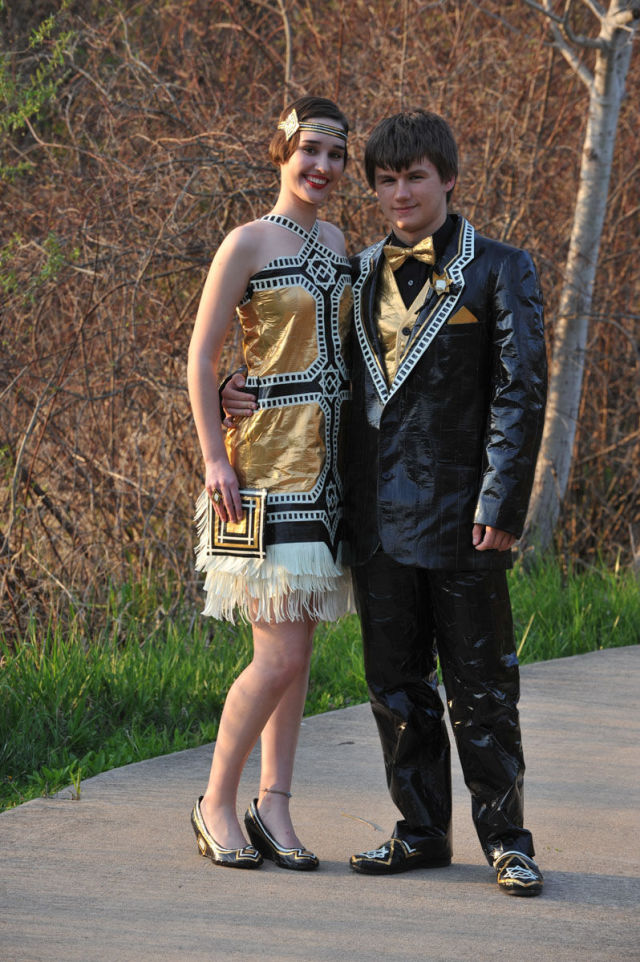 A Couple's Prom Outfit Made Entirely out of Duct Tape