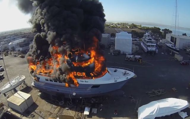 Drone Records Terrifying $24 Million Yacht Fire