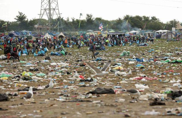 The Massive Mess Left Over after Glastonbury's Annual Festival