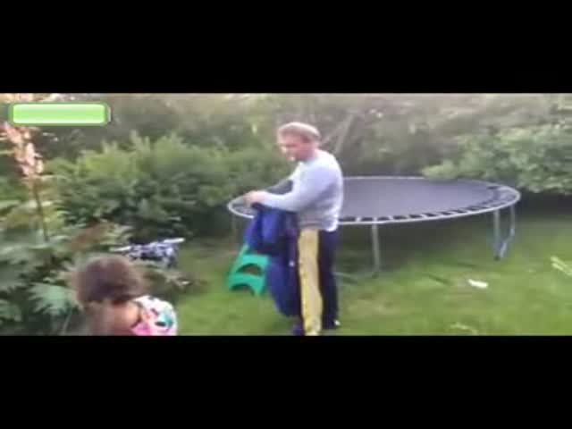 Drunk Guy Shows His Skills on Trampoline