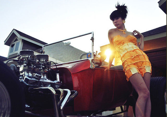 Girls Pose with Cars Wearing the Latest Fashionable Dress
