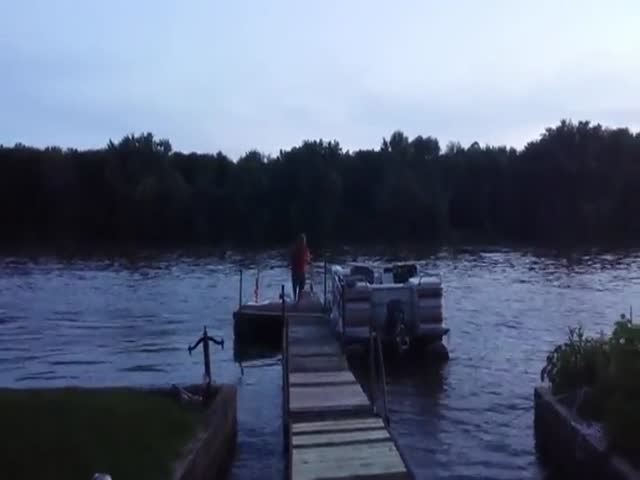 Fireworks Fail Leads to Guy Blowing Up His Boat Dock  (VIDEO)