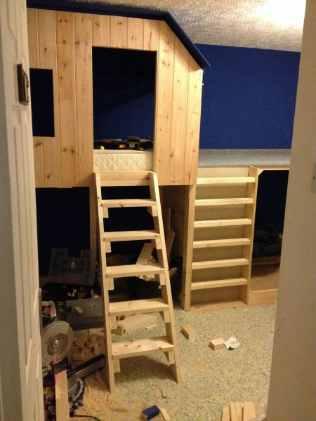 Cool Dad Builds His 5 Year Old Son a Treehouse in His Bedroom