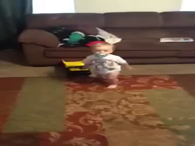 Toddler Walks like His Pregnant Mom