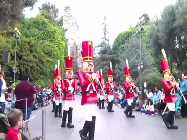 Costumed Characters Falling Over at Disneyland