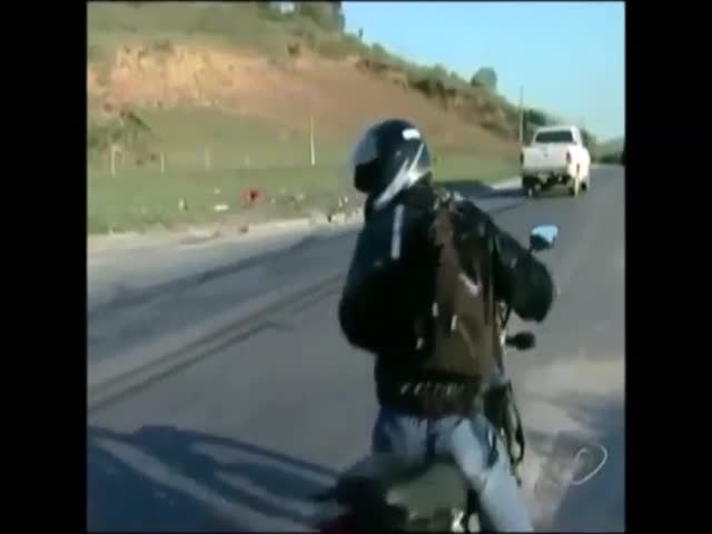 Motorcyclist Crashes Right after Giving Interview about Crashes