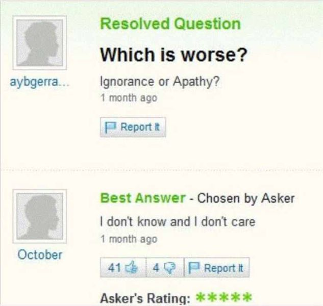 Amusing Yahoo Questions and Answers