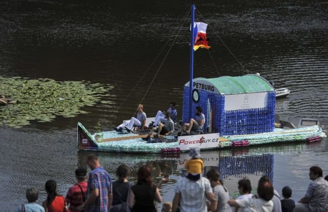 A Plastic Bottle Boat Built by Students